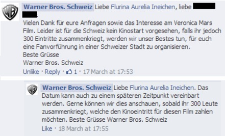 "Bild zur Petition mit dem Thema: ""The Veronica Mars Movie"" in der Schweiz / en Suisse / in Switzerland"